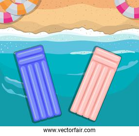 beach with floats top view vector design