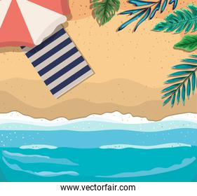 beach with umbrella and towel top view vector illustration