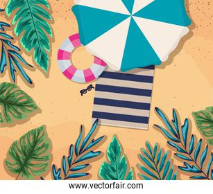 beach with umbrella float and towel top view vector design