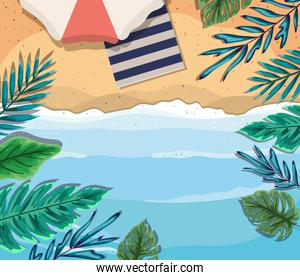 beach with umbrella and towel top view vector design