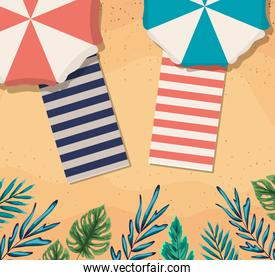 beach with umbrellas and towels top view vector design