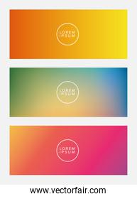 Colorful gradient backgrounds frames with circle place for text vector design