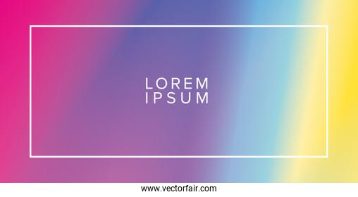Colorful gradient background with frame vector design
