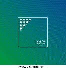 Blue and green gradient background with frame vector design