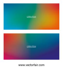 Colorful gradient backgrounds frames with place for text vector design
