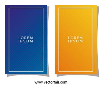 blue and orange gradient backgrounds with frame vector design