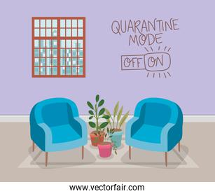 Chairs window and plants inside pots vector design