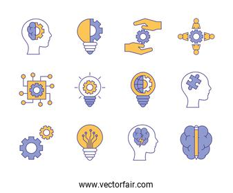 Innovation and idea line and fill style icon set vector design
