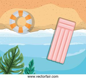 beach with leaves and floats top view vector design