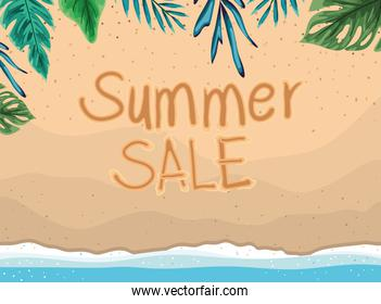 beach with summer sale and leaves top view vector design