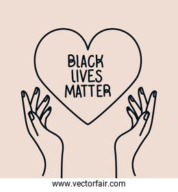 Black lives matter on heart between hands vector design