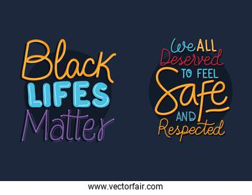 Black lives matter phrases vector design