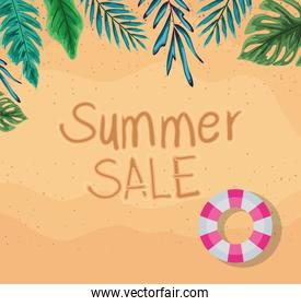 beach with summer sale float and leaves top view vector design