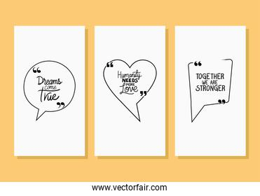 quotes phrases bubbles set vector design