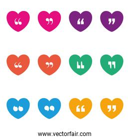 Set of quotes icons inside multicolored hearts vector design