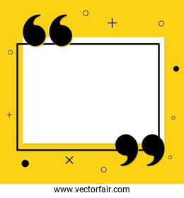 Quote communication bubble frame vector design