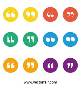 Set of quotes icons inside multicolored circles vector design