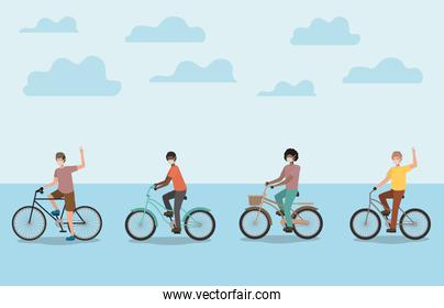Boys with medical masks on cycles with clouds vector design
