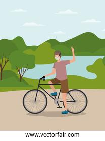 Boy with medical mask on cycle at park vector design