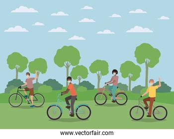 Boys with medical masks on cycles at park vector design