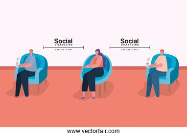 Social distancing between people on chairs with coffee mugs vector design