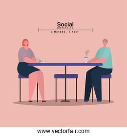 Social distancing between woman and man on table with coffee mug vector design