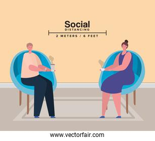 Social distancing between woman and man on chairs with coffee mugs vector design