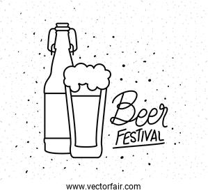 Beer glass and bottle of festival vector design