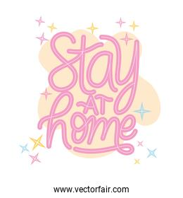 stay at home lettering vector design