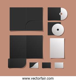 Mockup files cds and cards vector design