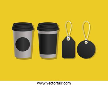 Mockup coffee mugs and labels vector design