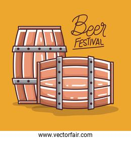 Beer barrels of festival vector design