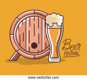 Beer glass and barrel of festival vector design