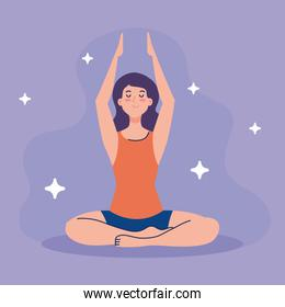 woman meditating, concept for yoga, meditation, relax, healthy lifestyle