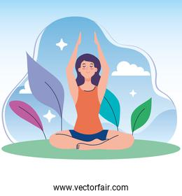 woman meditating in nature and leaves, concept for yoga, meditation, relax, healthy lifestyle