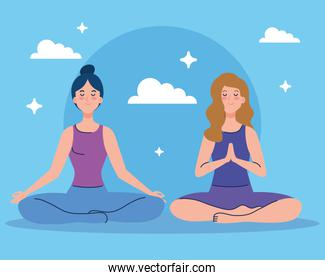 women meditating, concept for yoga, meditation, relax, healthy lifestyle