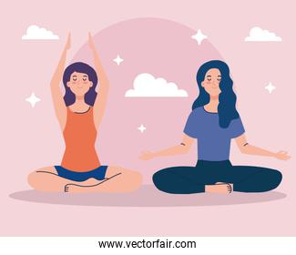 women meditating, concept for yoga, meditation, healthy lifestyle over pink