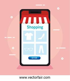 shopping online on website or mobile, concept marketing and digital marketing in smartphone
