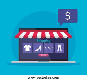 shopping online on website or mobile, concept marketing and digital marketing in laptop