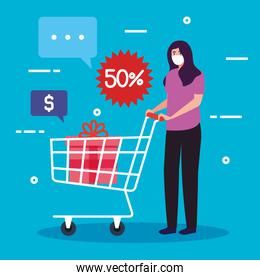 woman wearing medical mask, while push cart shopping, stay safe while shopping, discount, low price, products with fifty percent discount