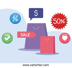 shopping online, bags shopping with icons marketing online, concept digital marketing