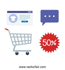 cart shopping, set icons of shopping online, digital marketing concept