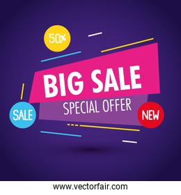 sale banner template, big sale special offer, fifty percent discount, sale banner template concept