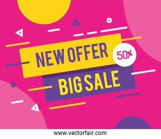 sale banner template, new offer, big sale, fifty percent discount, special offer banner, sale banner template concept