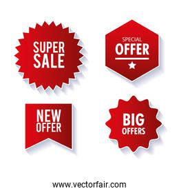 price tags, collection red ribbon banners, sale promotion, website stickers, special offers
