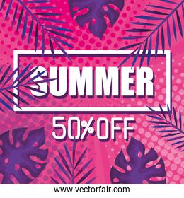 summer fifty percent discount off, banner with tropical leaves , exotic floral banner
