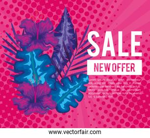 summer sale, new offer banner and tropical leaves background, exotic floral banner