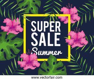 super sale summer banner with flowers and tropical leaves background, exotic floral banner
