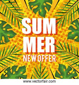 summer new offer, banner with tropical leaves background, exotic floral banner
