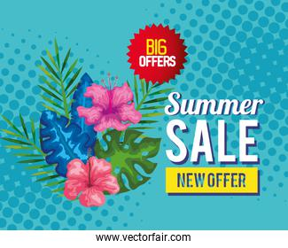 big offers summer sale new offer, banner with flowers and tropical leaves , exotic floral banner